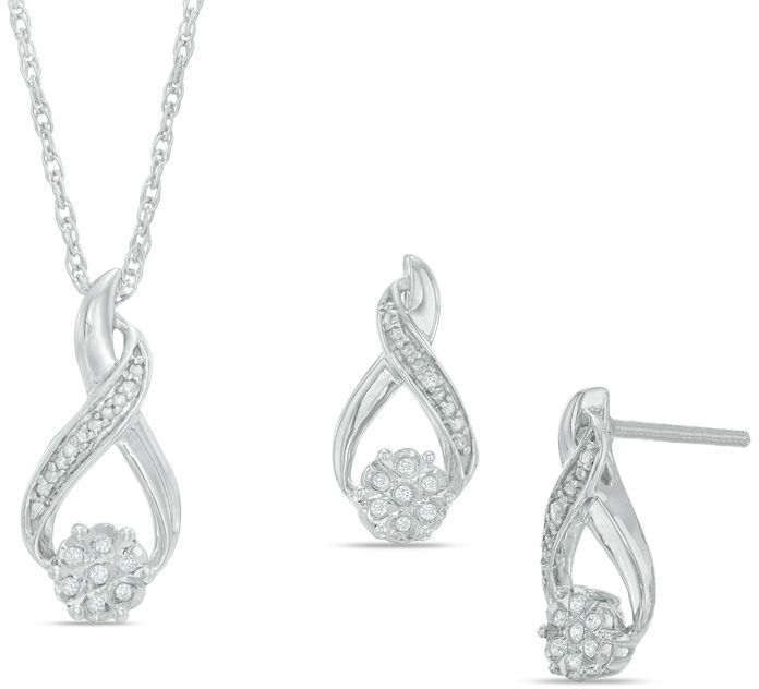 Zales Diamond Accent Infinity Earrings and Pendant Set in Sterling Silver
