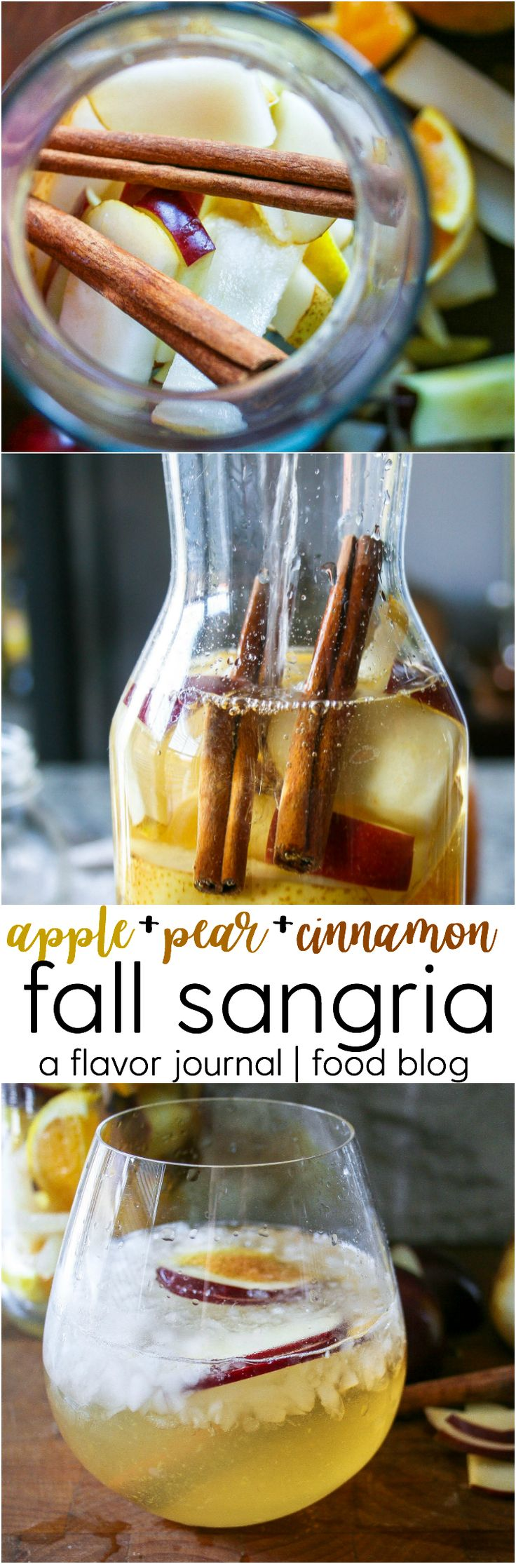 pears, apples, cinnamon, oranges, and honey combine with white wine and apple brandy to create a fruity fall sangria with a hint of warm spice. cheers!   apple + pear + cinnamon fall sangria http://aflavorjournal.com/fall-sangria/