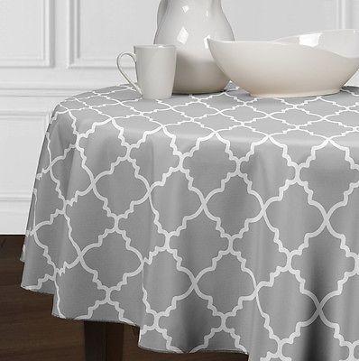 New-Grey-White-Round-Modern-Trellis-Dining-Room-Kitchen-Tablecloths-72-84-90