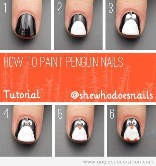 Tuto pas à pas, comment dessiner un  pingouin sur les ongles