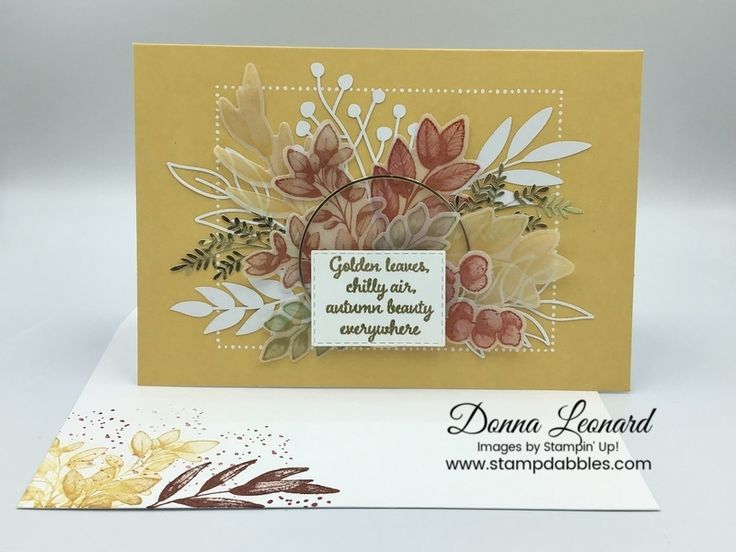 Stampin' Up! Forever Fern Vellum and Gold Autumn Notecard