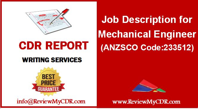 Job Description for Mechanical Engineer (ANZSCO Code 233512 - mechanical engineer job description