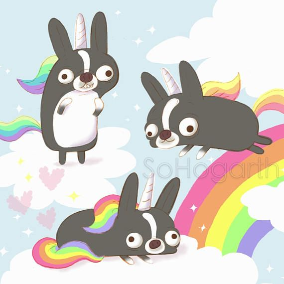Boston Terrier Magical Rainbow Creatures. 8x11 Matte