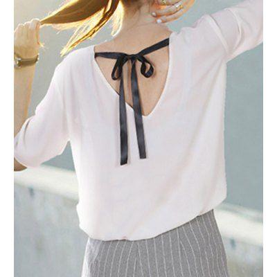 Fashionable Short Sleeve Rhinestone Embellished Lace-Up Plus Size Blouse For Women