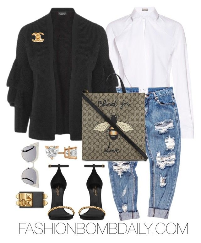 Untitled #2010 by dnicoleg on Polyvore featuring polyvore fashion style Topshop Alexis Mabille OneTeaspoon Yves Saint Laurent Allurez Fendi Gucci clothing