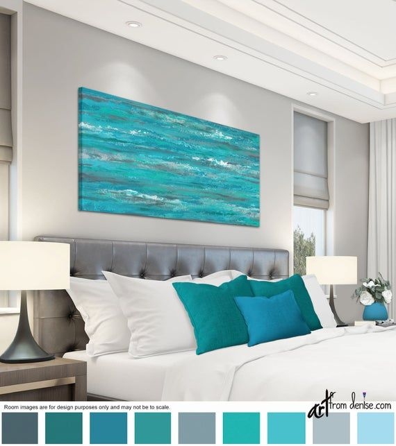 Turquoise gray and teal abstract, Long horizontal canvas wall art, over bed decor, above couch artwork or dining room pictures