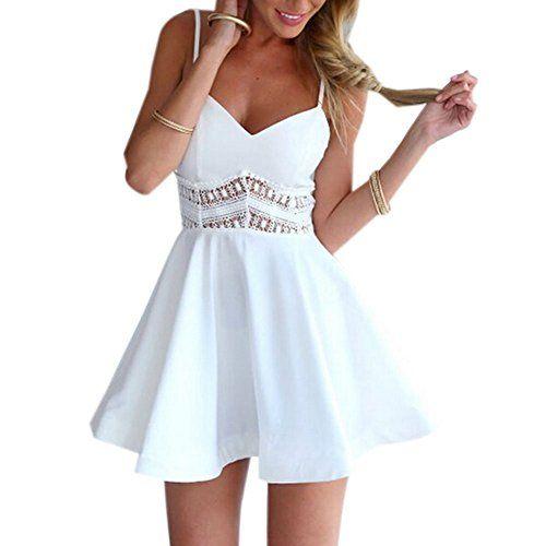 Minetom Damen Sexy Sommerkleid kurz Ärmellos V-Ausschnitt Spitze Spleiß strandkleider Rock Partykleid Cocktaikleid ( Weiß EU S )