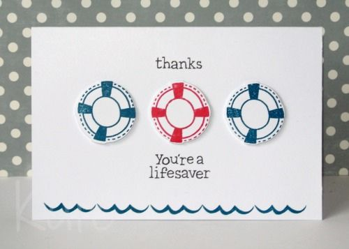 Lawn Fawn - Float My Boat stamps and coordinating dies _ awesome CAS card by Kate _ Life saver