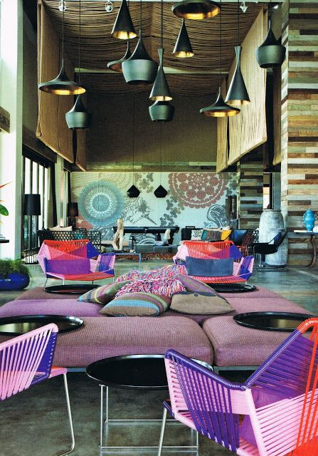 this hotel lobby designed by  Patricia Urquiola uses color and pattern to dileneate spaces, but it is vobrant and fun and has a much more casual vibe than many work places. It looks like an exciting place to work