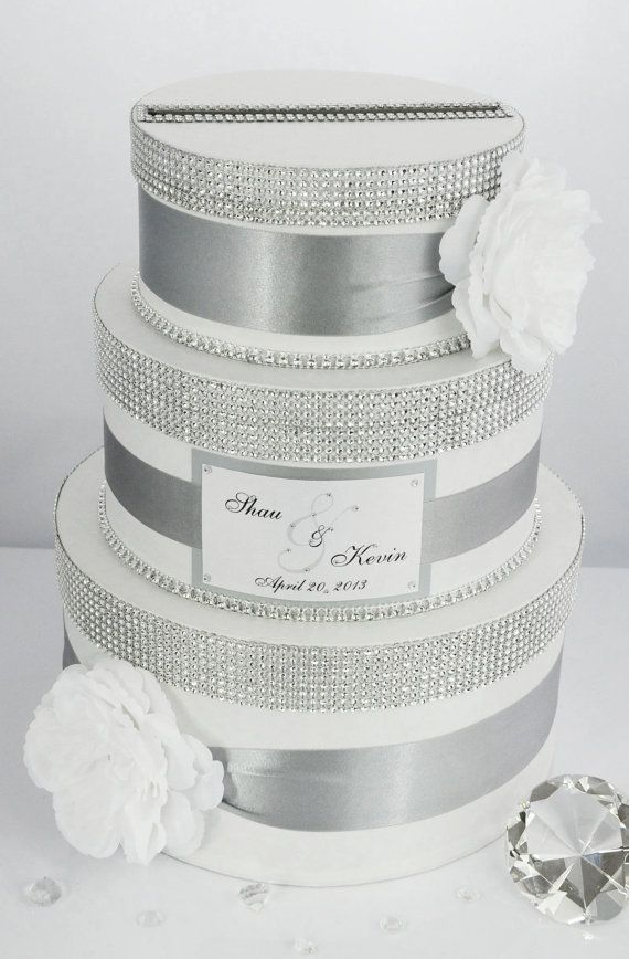 Items similar to Card box / Wedding Box / Wedding money box - 3 tier - Personalized on Etsy