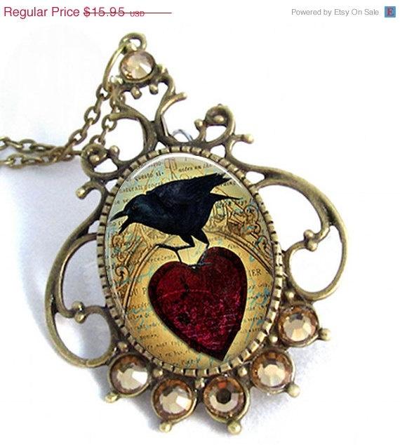 Vintage Brass Red Heart Raven Art Pendant
