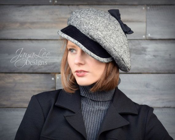 Slouch Beret Hat Black Wool Tweed Leather 1930's Fashion Newsboy Hat