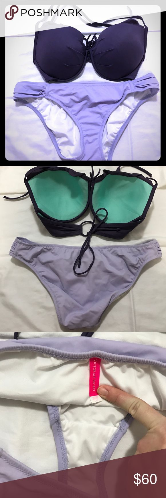 Victoria's Secret purple bikini set Two toned bikini set. The top is a 34DD but a 34D would fit too. Worn top twice and bottoms once. I am selling as a set but will consider selling as separates just message me! Always willing to except offers! Victoria's Secret Swim Bikinis