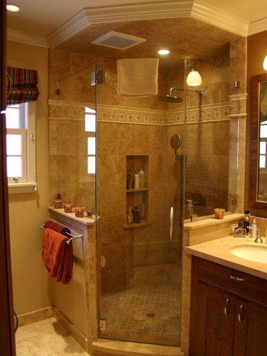17 best images about corner showers on pinterest master for Bathroom designs with corner bath