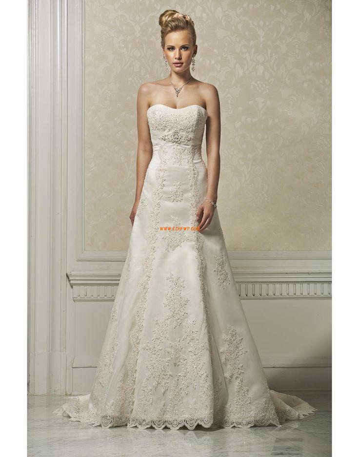 Bez ramiączek Aplikacjami Naturalny Suknie ślubne 2012