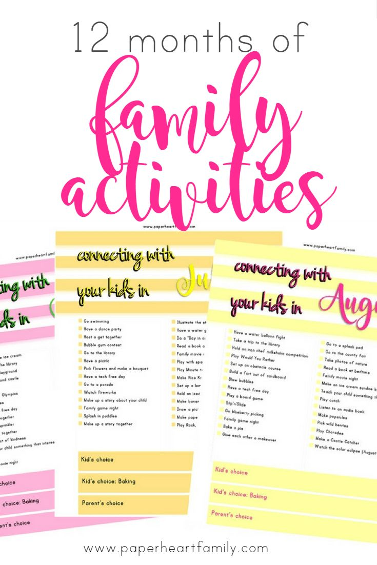 12 Months of Family Activities- Get your free printable! An entire year of simple, fun and unique family activities.