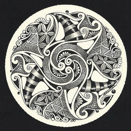 Enthusiastic Artist: Tangles: Black Pearlz, Sanibelle (one by one), Tipple, Tripoli, Wudand spirals and Rounding and stripes with highlights by Margaret Bremmer, Certified Zentangle Teacher
