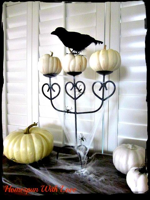 homespun with love white pumpkin decor