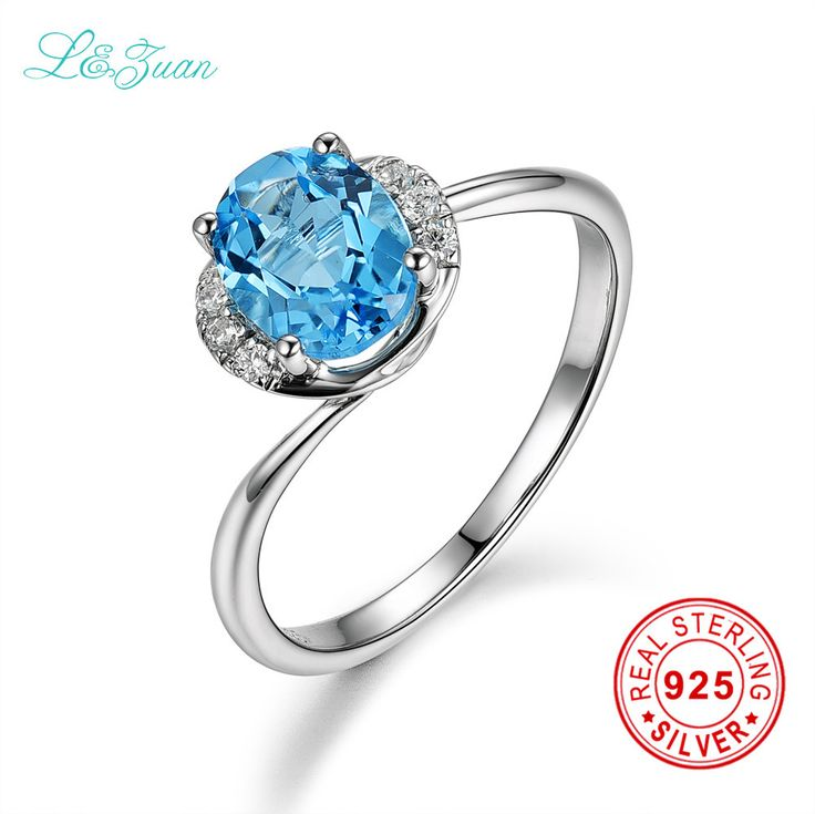 l&zuan 925 Rings Sterling Silver 1.52ct Topaz Star Prong Setting Blue Stone Ring Jewelry For Women Zilveren Ringen Voor Vrouwen