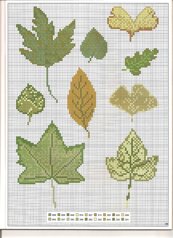 Mixed green leaves cross stitch pattern (1) - free cross stitch patterns crochet knitting amigurumi