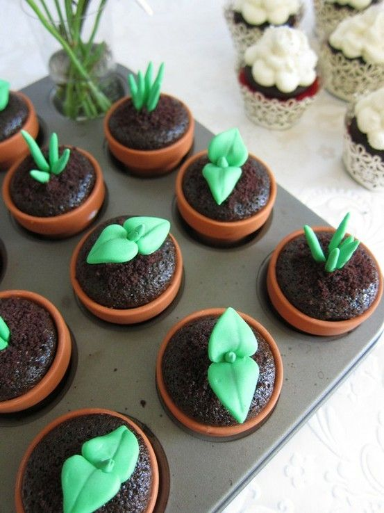Flower pot Cupcakes by lorna to cute!!