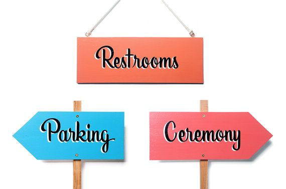 SET OF 3 // Hand Painted Wedding Signs