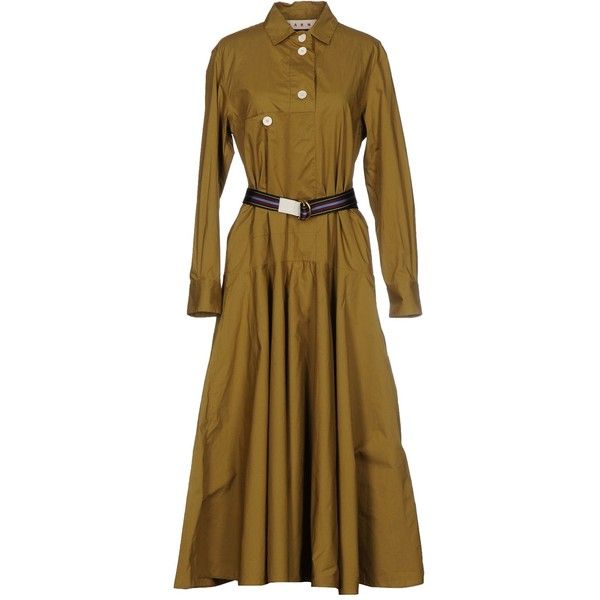 Marni Long Dress ($820) ❤ liked on Polyvore featuring dresses, military green, brown long sleeve dress, army green shirt dress, olive green dress, cotton shirt dress and olive green long sleeve dress