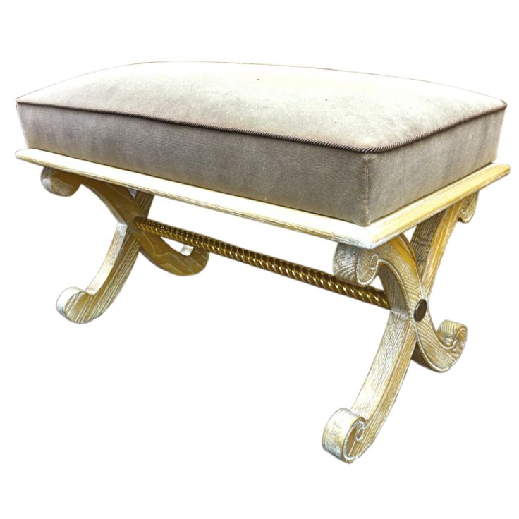 ANDRE ARBUS Cerused Oak And Gold Leaf Bench Newly Covered