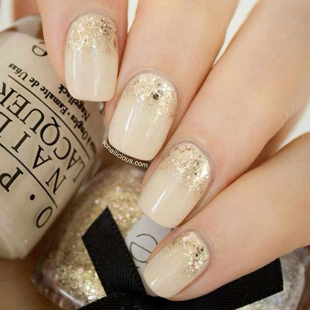 Cream and gold nails