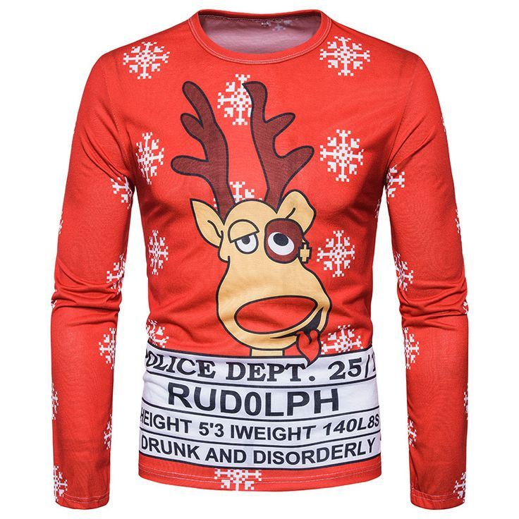 Ugly Men's Christmas 3D Printed T-shirts Long Sleeve Funny Tops Reindeer Type B - T-Shirts, Tank Tops