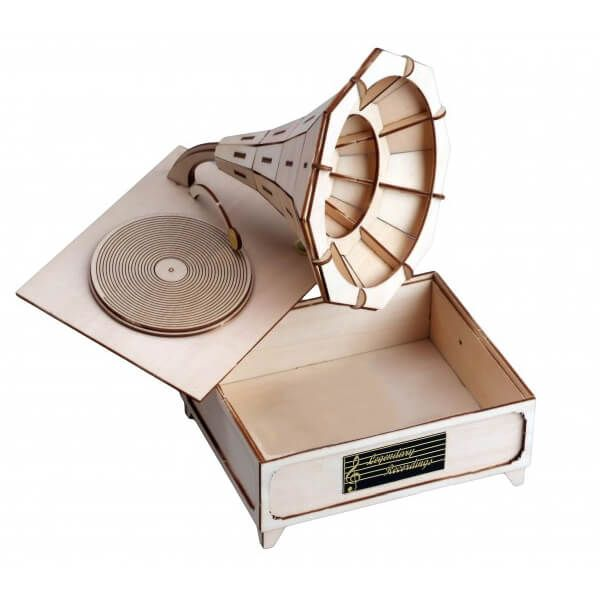 Knutseltips voor meisjes tijdens Pasen - Houten bouwpakket grammofoon