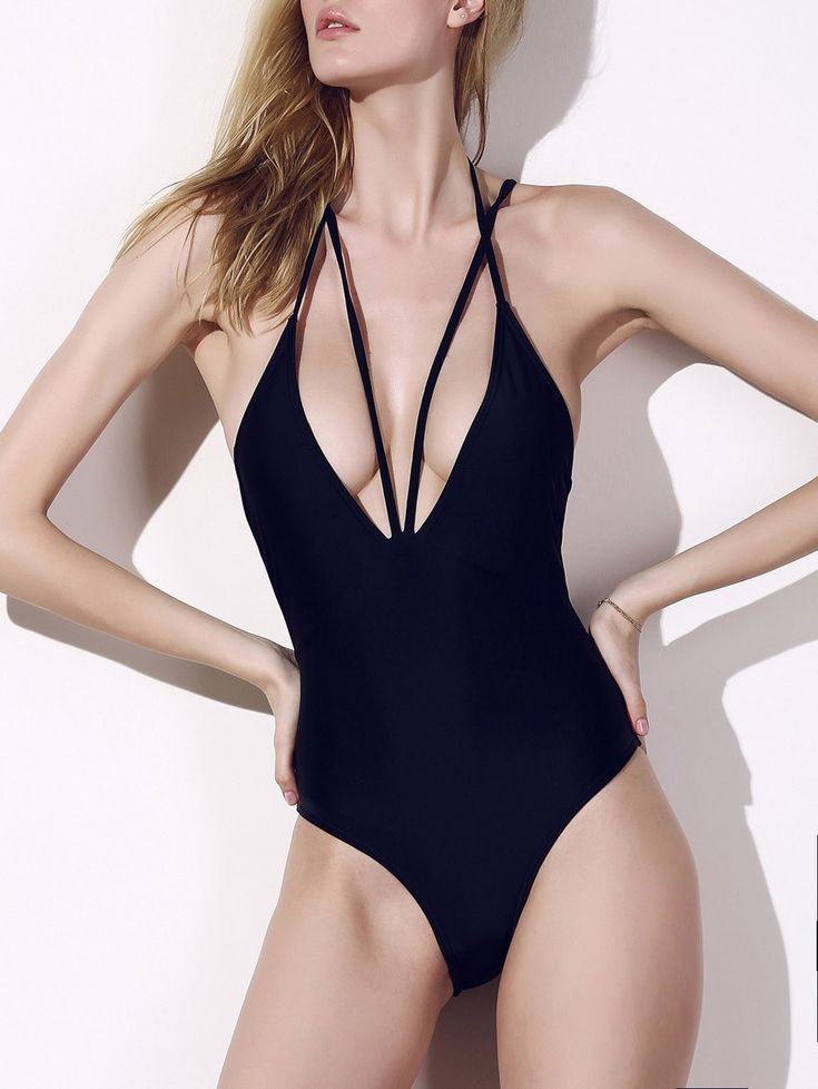 Attractive Plunging Neck Black Cut Out One-Piece Swimwear For Women