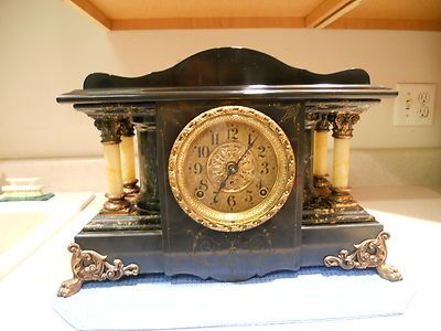 "ANTIQUE SETH THOMAS ""SHASTA"" ADAMANTINE MANTLE CLOCK "" 1900 "" Working"