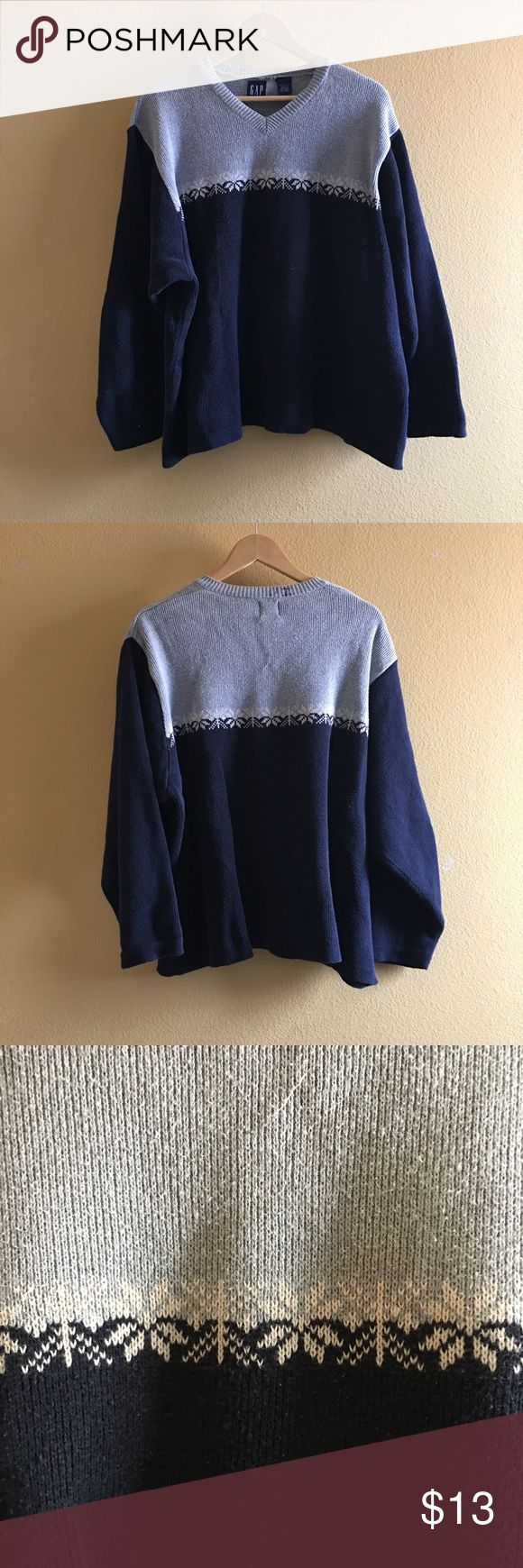 """Vintage 90's GAP sweater The Christmas Spirit Never Ends With The 90's GAP sweater 😤👌🏼 Size: Large/Chest: 26In /Length: 26In 100% cotton made in Indonesia Fits size medium 5'7 """"HI"""" engraved in marker shown in PHOTO 4 ( I had nothing todo with this ) GAP Sweaters V-Neck"""