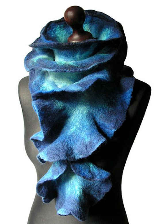 Felted scarf made from finest Australian merino wool. Size: 73,62/ 7,09 (187cm/ 18cm). Colors: shades of blue, navy blue, shades of turquoise, bright mint.  Size: length: 187cm (73,62) width: 18cm (7,09)   Visit my fan page on Facebook: www.facebook.com/pracownia.artystyczna.arteduo  More scarves you can find here: www.etsy.com/shop/MarlenaRakoczy?section_id=14901313&ref=shopsection_leftnav_1