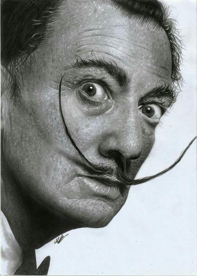 Salvador dali hyperrealistic pencil drawing