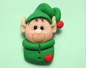Polymer Clay Elf Holiday Pin