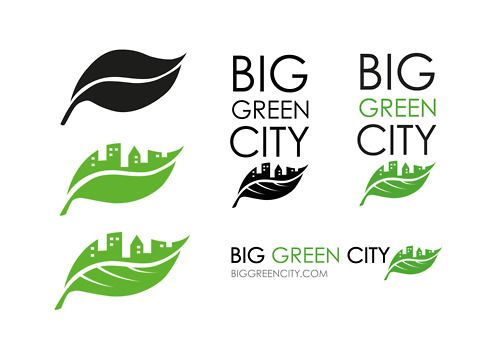 Big Green City (event) logo development. Very unique combination of the city literally as half of the leaf. The attitude of the viewer will automatically thing environmental friendly for the fact that it is green. Simply a great combination of the environment and a city.
