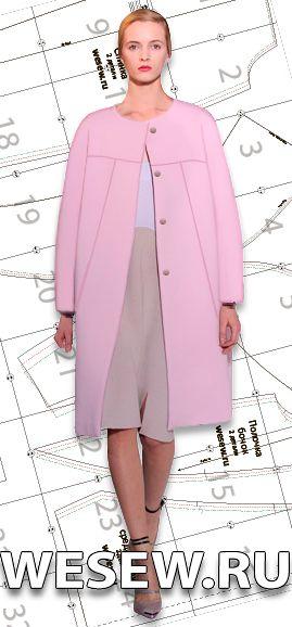 Выкройка женского пальто-кокона в трех размерах Ог 88-92-96 см