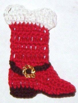 Uncinetto d'oro: Sacchetto per regali! (Crocheted Red Cowboy Boot Applique) Good Chart...