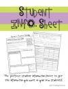 Student Information Sheet product from KindergartenWorks