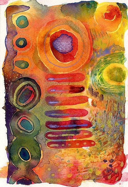 Expressive Watercolor Washes. Abstraction. Composition. Shapes (geo-morphic). Colors (harmonies and contrasts). Texture. Layering. Juxtapositioning. (See Gude.) Tie thematically into felt qualities of an experience, music, dancing, dreaming...  Look at Aboriginal Dreamings (dot paintings), Miriam Shapiro (I'm Dancing as Fast as I can), and Miro or Kandinsky. Watercolor painting fun, but is much harder to do well than you think.