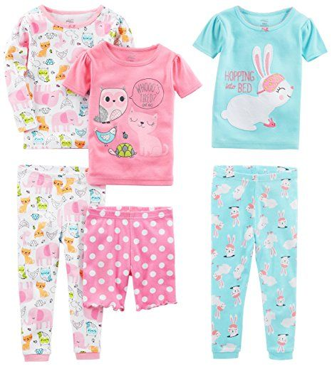 60eed152a1dc Amazon.com  Simple Joys by Carter s Girls  6-Piece Snug-Fit Cotton ...