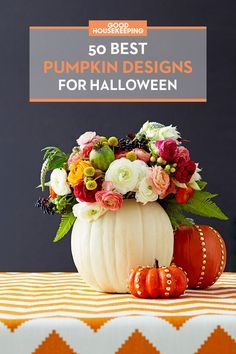 Give your Halloween jack-o-lanterns a spooky (or pretty!) makeover with these easy pumpkin designs and decorating ideas.