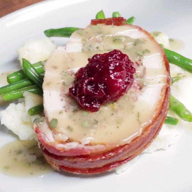 "Instead of basic roast turkey, break with tradition and make bacon-wrapped turkey ""porchetta."""