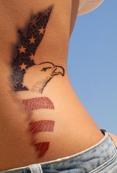 American Flag Eagle Tattoo on Waist