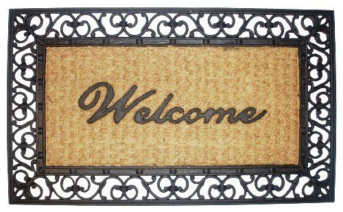 Welcome Scroll Rectangle - Grill Mat with Coir Matting Heavy Duty Outdoor Premium Coir and Rubber Brush Mat 18x30 by Iron Gate - Extremely durable with strong rubber backing - Grips the ground and prevents skidding - Traps dust - Welcome your guests with this high quality doormat by Iron Gate. $15.99. Welcome your guests with this Heavy Duty attractive designed Rectangle shape outdoor coir mat.. Coir doormats are made from 100% vulcanized rubber and coconut husks.. Care: To cl...