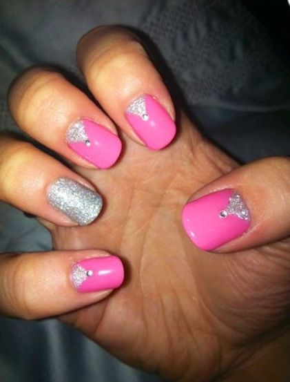 hot pink nails with diamonds - photo #29