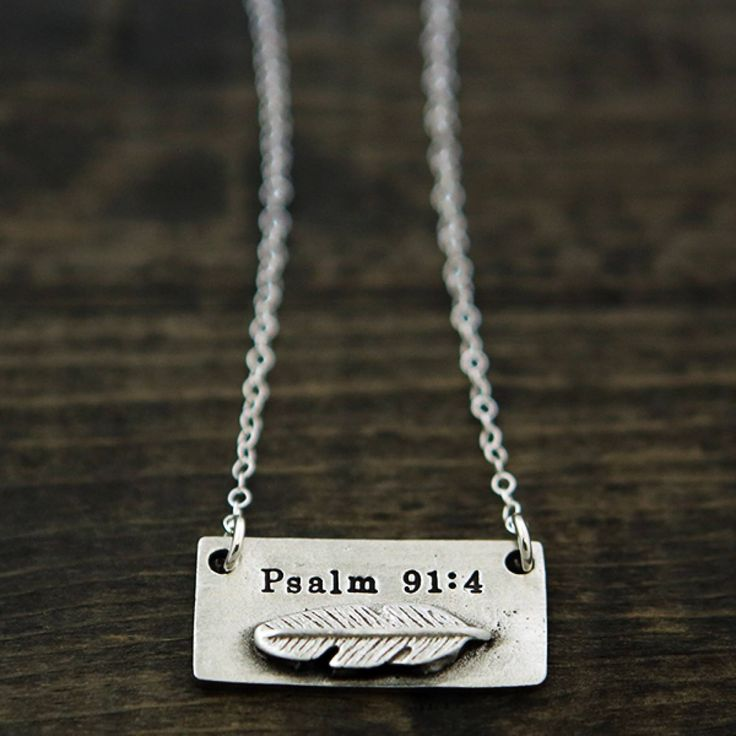 The Vintage Pearl Scripture Verse Necklace | Psalm 91:4