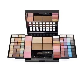83 Piece Essential Makeup Collection. 64 Eye Shadow Shades; 8 Lip Gloss Shades; 4 Blush Shades; 4 Bronzer Shades; 1 Lip Brush; 1 Eye Brush; 1 Face Brush